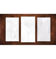 Set of white wrinkled stylized paper on wooden vector