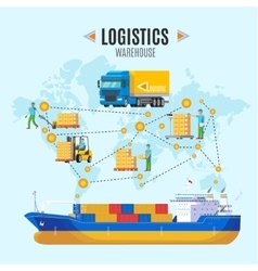 Logistic warehouse concept vector