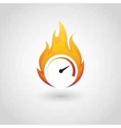 Speedometer on fire vector