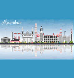 Alexandria skyline with gray buildings blue sky vector