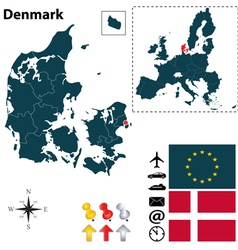 Denmark and european union map vector
