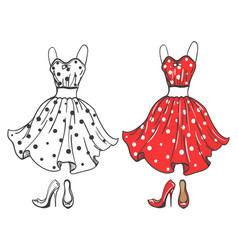 Fashion polka dot dress and shoes vector