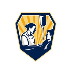 Nurse tending sick patient retro vector