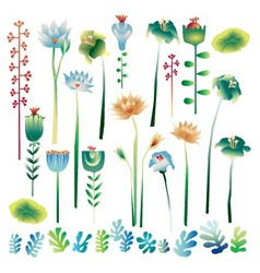 Futuristic collection of plants and flowers vector