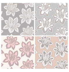 Set of four lace seamless patterns with flowers vector