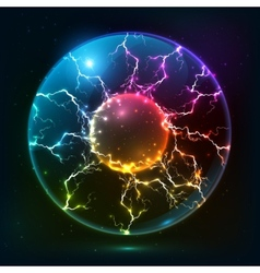 Rainbow fire plasma ball vector