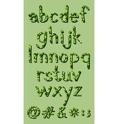 Letters of the alphabet in green colors vector