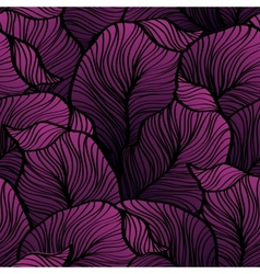 Retro seamless pattern with abstract doodle leaves vector