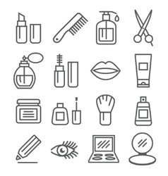 Cosmetics line icons vector
