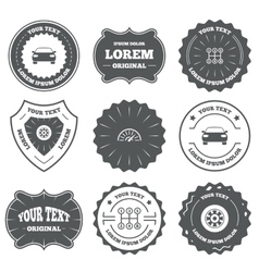 Transport icons tachometer and wheel signs vector
