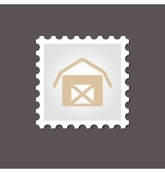 Barn house stamp outline vector