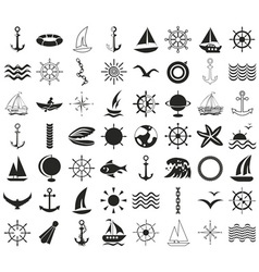 Icons sea ships travel on white vector