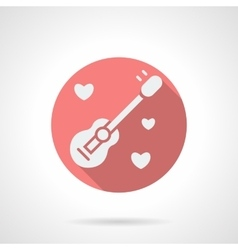 Round pink guitar and hearts flat icon vector