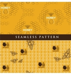 Set seamless pattern for honey product vector