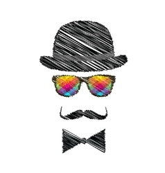 Vintage silhouette of top hat mustaches bow tie vector