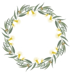 Eucalyptus wreath floral border frame vector