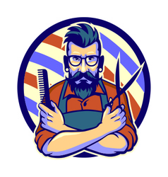 Barber with pole hair comb and scissors retro vector