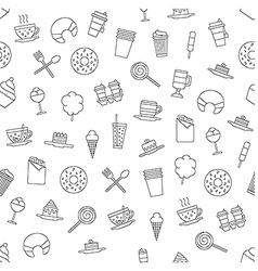 Dessert pattern black icons vector