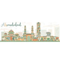 Abstract Ahmedabad Skyline with Color Buildings vector image vector image