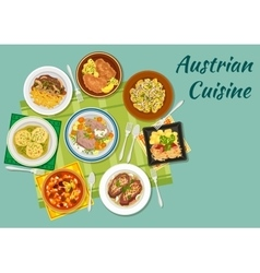 Austrian cuisine flat icon with meat dishes vector
