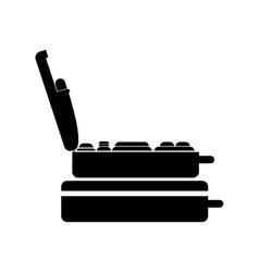 Black silhouette pair of suitcases vector