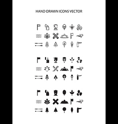 Camping icon set hand drawn on white vector