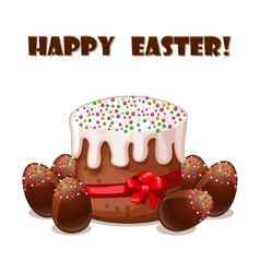 Card easter cake and chokolate eggs vector