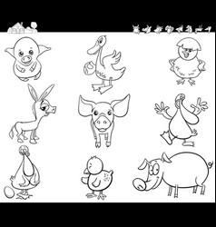 cartoon farm animals set coloring book vector image
