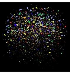 colorful confetti on black vector image