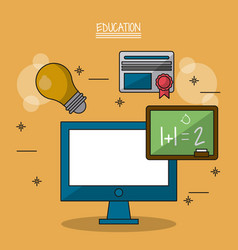 Colorful poster of education with computer and vector
