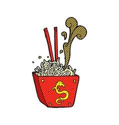 Comic cartoon noodles in box vector