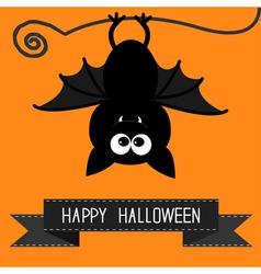 Cute bat and black ribbon happy halloween card vector