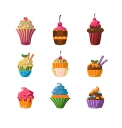 Decorated cupcakes sticker set vector