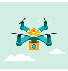 Drone quadcopter with camera flat 3d vector