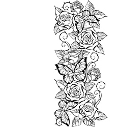 Edge of Contour Roses and Butterflies vector image vector image