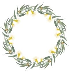 Eucalyptus wreath floral border frame vector