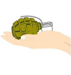 Grenade in hand vector