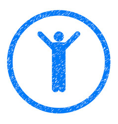 happy person pose rounded grainy icon vector image