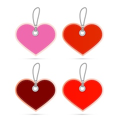Hearts labels on strings set vector