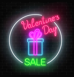 Neon valentines day sale glowing sign in circle vector