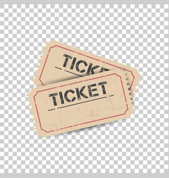 old ticket with grunge effect flat on isolated vector image vector image