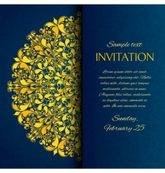 Ornamental blue with gold embroidery invitation vector image