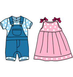 Pink and blue baby clothes vector