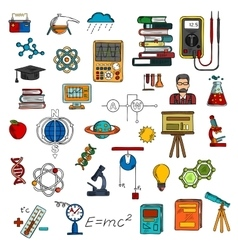 Science colorful sketches for education design vector image vector image