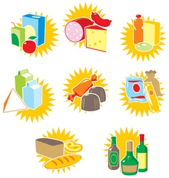 Set of icons with food and drinks vector image