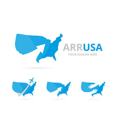 set of usa logo combination america and growth vector image vector image