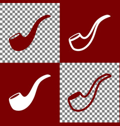 Smoke pipe sign bordo and white icons and vector