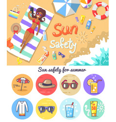 sun safety for summer composition and elements set vector image