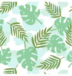 Tropical leafs silhouette pattern vector