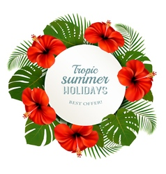 Tropical leaves and flowers with a summer holidays vector image